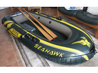 Intex Seahawk 2 two man inflatable dinghy with wooden oars and bag