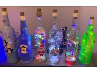 Hand Decorated Christmas Bottles with Lights