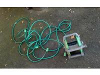 Garden Water hose reel +pipe hose 10m+ nozzles