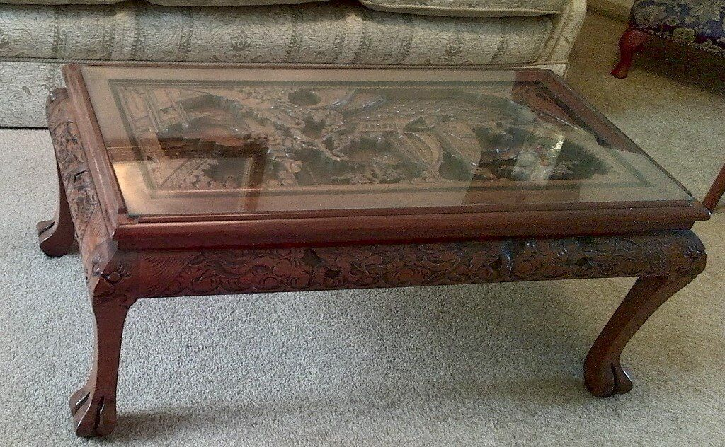 1970s Chinese Deep Hand Carved Glass Top Coffee Table