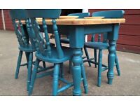 Farmhouse Pine table & chairs stunning paited finish Annie Sloan 'Aubusson' blue