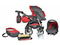 Junior Twist pram pushchair car seat Travel System 3in1 front swivel wheels ALL IN ONE
