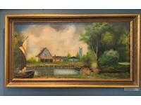 Large Oil on Canvas Painting Rural River Scene, signed 'Guardiola'