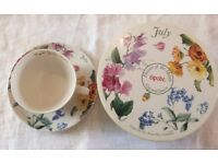 Spode Flowers of the Month July Cup and Saucer in original box