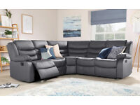 Lucas Grey Faux Leather (PU) Corner Recliner Sofa Suite Cup Holder BRAND NEW