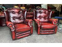 Pair of leather Chesterfield wingback chairs UK DELIVERY