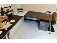 Zebrano corner desk with white sliding cabinet and drawers