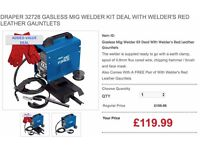 DRAPER 32728 GASLESS MIG WELDER KIT DEAL WITH WELDER'S RED LEATHER GAUNTLETS