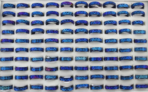 50pcs Wholesale Lots Fashion Blue Stainless Steel Rotation Men