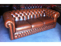 Antique brown leather 3 seater Chesterfield sofa