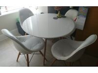 Charles Eames Style Round Dining Table 90cm White with 4 chairs