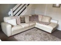 Cream Leather Corner Sofa & Pouffe