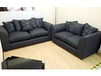 3 + 2 Seater BLACK/DARK GREY FABRIC, Modern Sofa Suite + FAST & FREE LOCAL DELIVERY