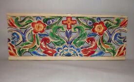 Hand carved and painted solid wood wall hanging flower design in bold colour art