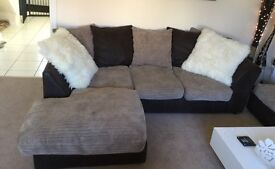 Corner sofa, cuddle chair and storage foot stool