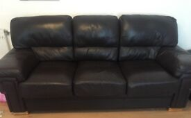 2&3 seater immaculate dark brown leather sofas for sale