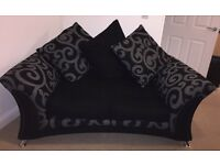 2 & 3 seater black and grey sofas