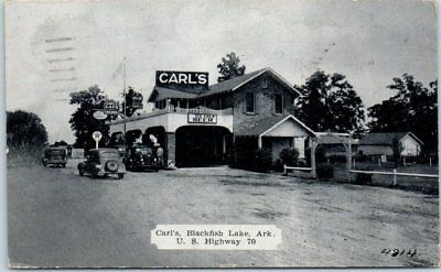 Blackfish Lake, Arkansas Postcard CARL'S Restaurant Gas BEER Sign Roadside 1939