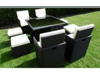 BRAND NEW MIXED BROWN RATTAN GARDEN FURNITURE CUBE SET 8 SEATS