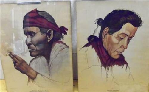 Medicine Man & Navajo Rancher Watercolor Litho Sunset Magazine John Minchin 1950