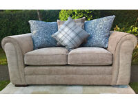 Ex-display 2 Seater Biscuit Natural Fabric Material Sofa