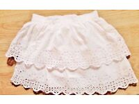 White Embroidered Lace Double Tiered Cotton Child Girl's Skirt.Age 2-3 Years.