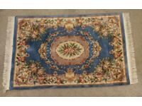 VINTAGE AUTHENTIC BLUE / MULTI-COLOURED ORIENTAL LIKE RUG. USED. GOOD CONDITION. £175