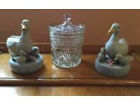 Pair of geese and glass biscuit barrel.