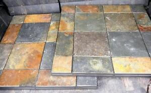 "2 METAL AND SLATE TABLE TOPS - NO BASES - 24"" SQUARE - OAKVILLE 905 510-8720"