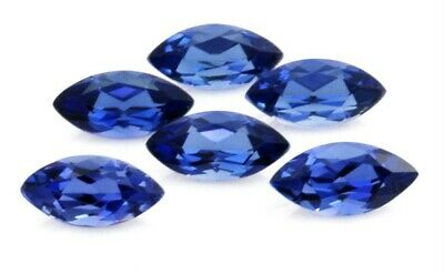 LOT OF 6 LAB CREATED BLUE SAPPHIRE 10x5 MARQUISE SHAPE LOOSE STONES