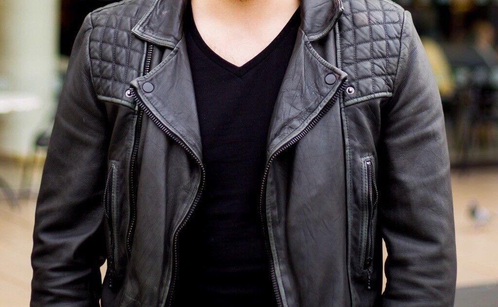 "414a0e3f All Saints Leather Jacket - Black - Mens - Small - ""Cargo"" - cool biker  jacket. Victoria ..."