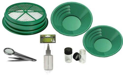 7 Piece Gold Silver Panning Kit Set Sifter Pan Snifter Bottle Tweezers Vials