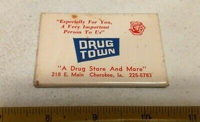 Vintage Drug Town Drug Store Pharmacy Cherokee Iowa Advertising Pocket Mirror