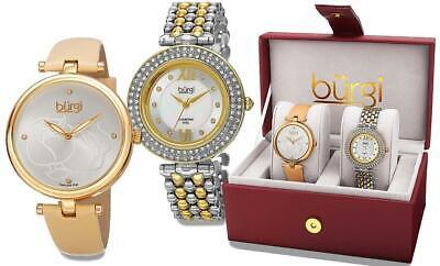 Burgi BUR152YG Swiss Quartz Diamond Markers Crystal Accented Womens Watch Set