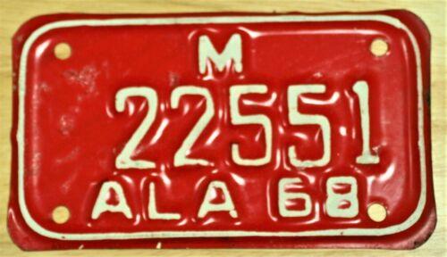 1968 ALABAMA M 22551 MOTORCYCLE LICENSE PLATE TAG ITEM #2959