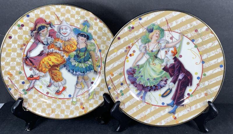 "Mardi Gras plates Fine Porcelain set of 2 Punch Studio John Grossman Enesco 8"""