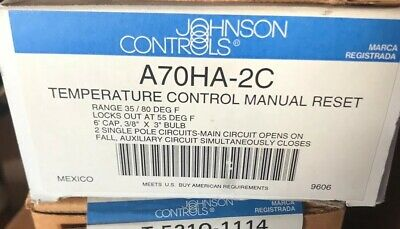 Johnson Controls A70HA-2C Two Circuit Temperature Control 35/80F Manual Reset 6' Manual Reset Johnson Controls