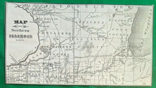 1835 Map Northern Illinois ~ Jo Daviess LaSalle & Cook County REPRODUCTION