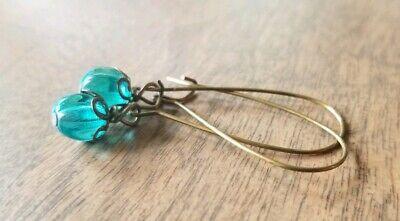 - Beaded earrings, petite, aqua glass, bronze, long kidney wire dangles, handmade