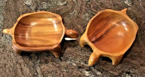 2- Monkey Pod Wood Carved  Turtle Sculpture Art 2 Bowl Dish Hand Carved VTG