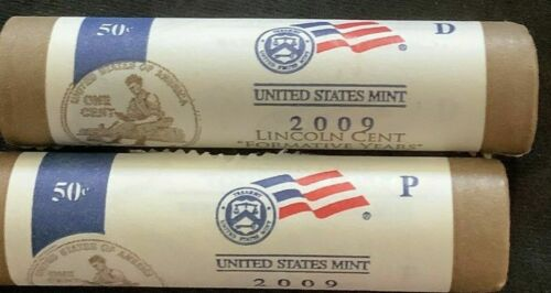 2009 P & D US Mint Wrapped Lincoln Cent Penny 2 Rolls Formative Years LP2