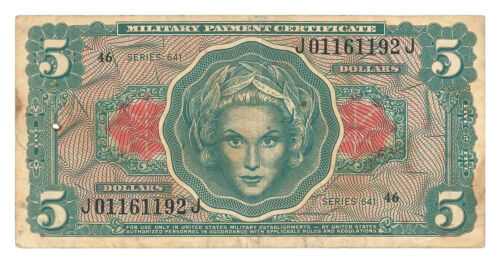 1965-1968 $5 U.S. Military Payment Certificates Vietnam-Era Series 641 SKU54014