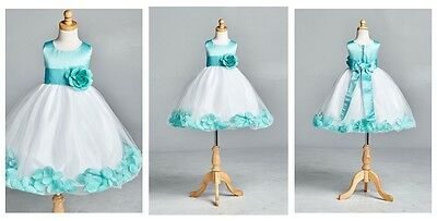 Tiffany Blue White Top Solid Petal Summer Easter Toddler Girl Dress #22 - Girls Tiffany Blue Dress