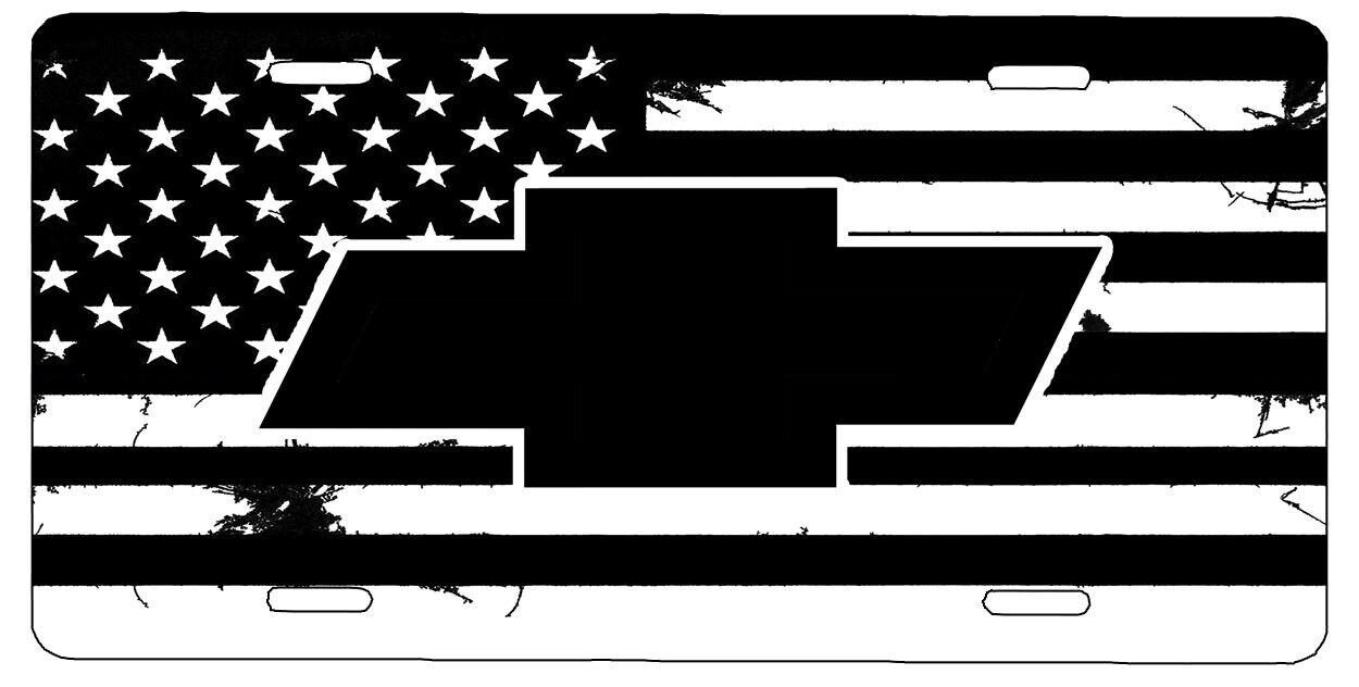 New Custom American Flag Black And White Dodge Ram Vanity License Plate #3