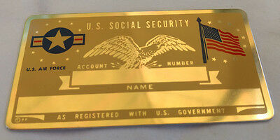 U.S. Air Force US Social Security Metal Card Tag NOS VTG Perma Products​