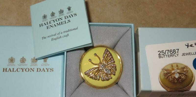 Halcyon Days Yellow Enamel Jeweled Butterfly Box Inspired by Faberge