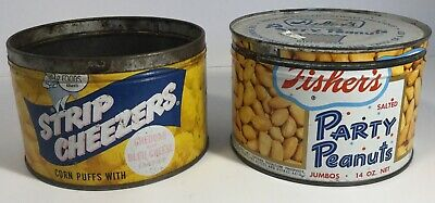 2 Vintage Metal Cans Fishers Party Peanuts & Strip Cheezers Snack Tins