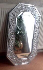 MIRROR OBLONG 8 SIDED EMBOSSED BEVELLED GLASS