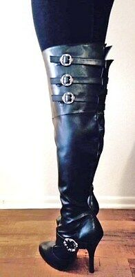 Thigh High Pirate Boots (Black Thigh High Steampunk Pirate Costume Wide Width Calf Boots size 7 8 9 10)