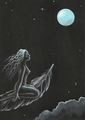 ACEO PRINT PAINTING RAVEN CROW RYTA NUDE WITCH HALLOWEEN VINTAGE STYLE GIRL MOON - Naked Girls Halloween